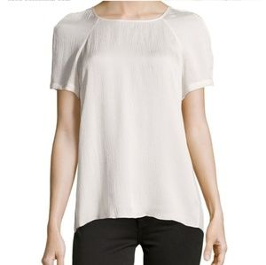 Rebecca Taylor Hammered silk black-pleated top